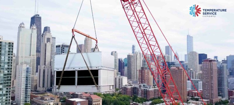 Chicago Cooling Tower Crane Lift