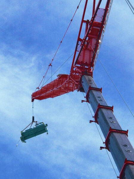 Crane Lifting a Chiller