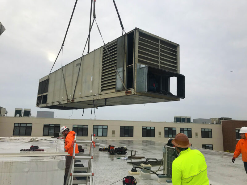 THE OLD ROOFTOP UNIT IS REMOVED